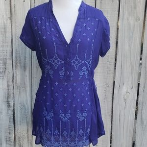 Johnny Was XS Embroidered Floral Purple